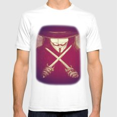 V for Vendetta4 MEDIUM White Mens Fitted Tee