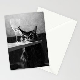 The Nightwatch Cat at the Absinthe bar black and white photograph / art photography Stationery Cards