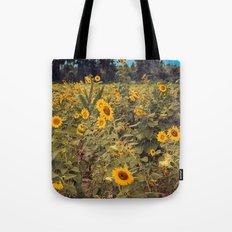 Summer Dance Field of Sun Flowers Botanical Landscape Fine Art Print Tote Bag