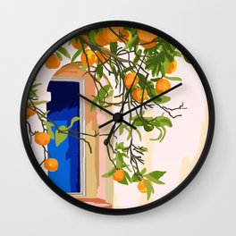 Wherever you go, go with all your heart,Summer Orange Tree Travel Luxury Villa Spain Greece Painting Wall Clock