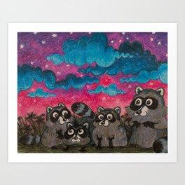 Raccoon Family Art Print