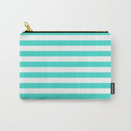 Horizontal Stripes (Turquoise/White) Carry-All Pouch