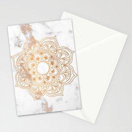 Copper flower mandala - marble Stationery Cards