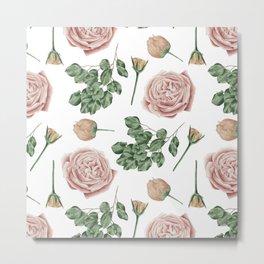 Flower Shop Roses Pattern White Metal Print