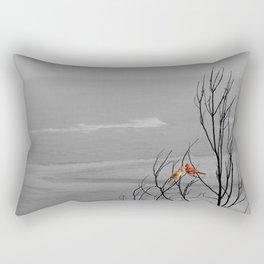 Red Cardinal Birds Black and White Beach Coastal A195 Rectangular Pillow