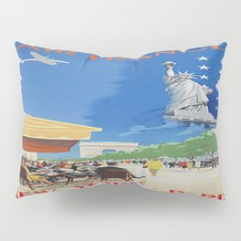 Vintage poster - Paris to New York City Pillow Sham