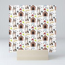 Australian Shepherd Half Drop Repeat Pattern Mini Art Print
