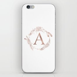 Letter A Rose Gold Pink Initial Monogram iPhone Skin