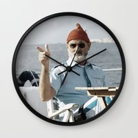 the life aquatic Wall Clocks featuring LIFE AQUATIC by VAGABOND