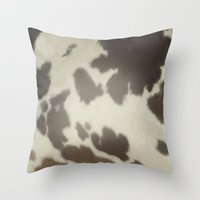 cow Throw Pillows featuring Cow by Eva Nev