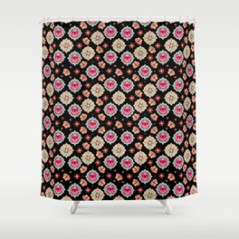 Butterfly And Flower Medallions - Black Color Shower Curtain