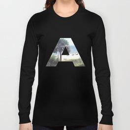 """A"" Initial Beach Long Sleeve T-shirt"