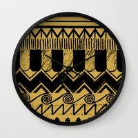 egypt Wall Clocks featuring Aztec Egypt by DeMoose_Art