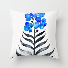 Blooming Orchid – Blue & Black Palette Throw Pillow