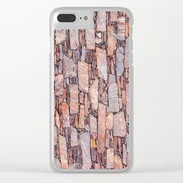 Orange shale vertical pattern wall Clear iPhone Case