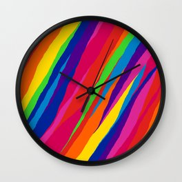 Wonky Rainbow Stripes Wall Clock