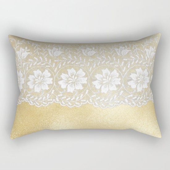 Bridal lace - White floral elegant lace on gold metal backround Rectangular Pillow