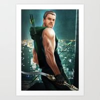 green arrow Art Prints featuring Arrow by Meder Taab