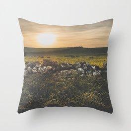 Sundown rugged landscape on the Irish coast Throw Pillow