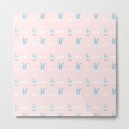 Blush pink blue white summer cactus modern floral Metal Print