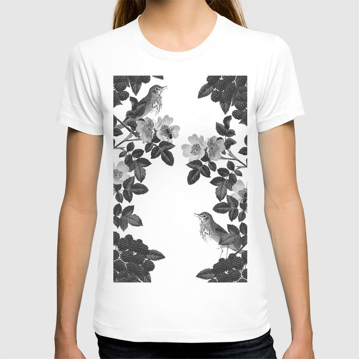 Birds and the Bees Black and White T-shirt