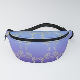 Hand drawn Seed Pods golden yellow blues Fanny Pack
