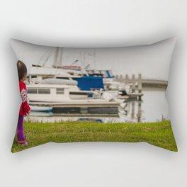 Girl At The Pier Rectangular Pillow