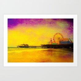 Yellow Purple Santa Monica Pier Art Print