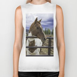 Beautiful Horse with Brown and White Patches Watching a Storm Coming in Biker Tank