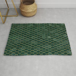Mermaid Fin Pattern // Emerald Green Gold Glittery Scale Watercolor Bedspread Home Decor Rug