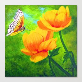 Butterfly with flowers Canvas Print