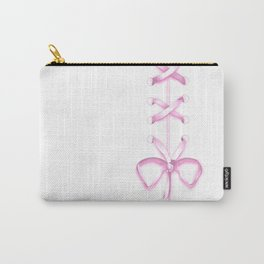 Laced Pink Ribbon on White Carry-All Pouch