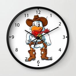 happy cowboy chicken. Wall Clock
