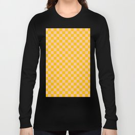 Deep Peach Orange and Amber Orange Checkerboard Long Sleeve T-shirt