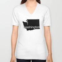 washington V-neck T-shirts featuring Washington by Isabel Moreno-Garcia