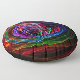 rainbow flower light painting Floor Pillow