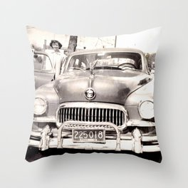 Mom and her Antique Car  Throw Pillow