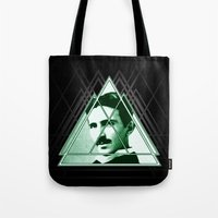 tesla Tote Bags featuring Tri-Tesla by Rad Recorder