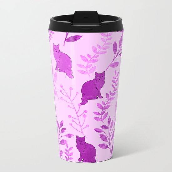 Watercolor Floral and Cat V Metal Travel Mug