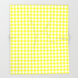 White and Electric Yellow Diamonds Throw Blanket