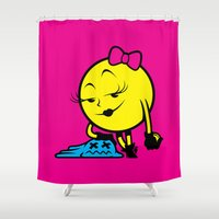 pac man Shower Curtains featuring Ms. Pac-Man by La Manette