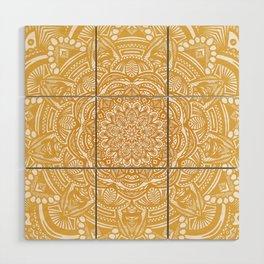 Golden Mustard Yellow Orange Ethnic Mandala Detailed Wood Wall Art