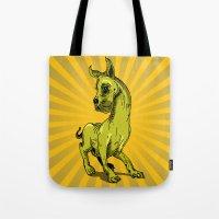 great dane Tote Bags featuring Great Dane by wahyudi77