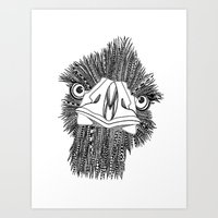 ostrich Art Prints featuring Ostrich by Lindsay MKE