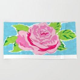 Watercolor Rose - Ocean Beach Towel