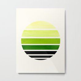 Sap Green Mid Century Modern Minimalist Circle Round Photo Staggered Sunset Geometric Stripe Design Metal Print