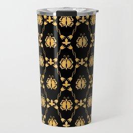 Classique Art Deco Gold Butterfly Pattern Travel Mug