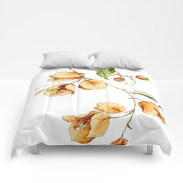 Orange Bougainvillea Illustration Comforters