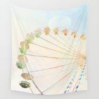 ferris wheel Wall Tapestries featuring Ferris Wheel by happeemonkee