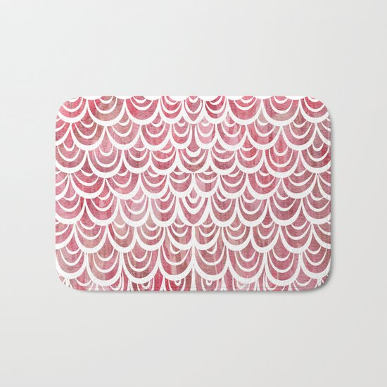 Watercolor Mermaid Rosy Garnet Bath Mat